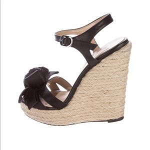 Valentino Rosette-accented espadrille wedges